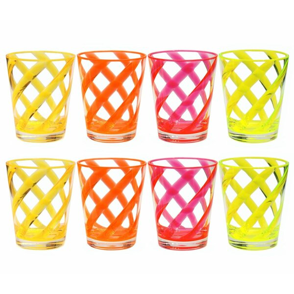 Glenorie Stripes 16 oz. Plastic Every Day Glass (Set of 8) by Latitude Run