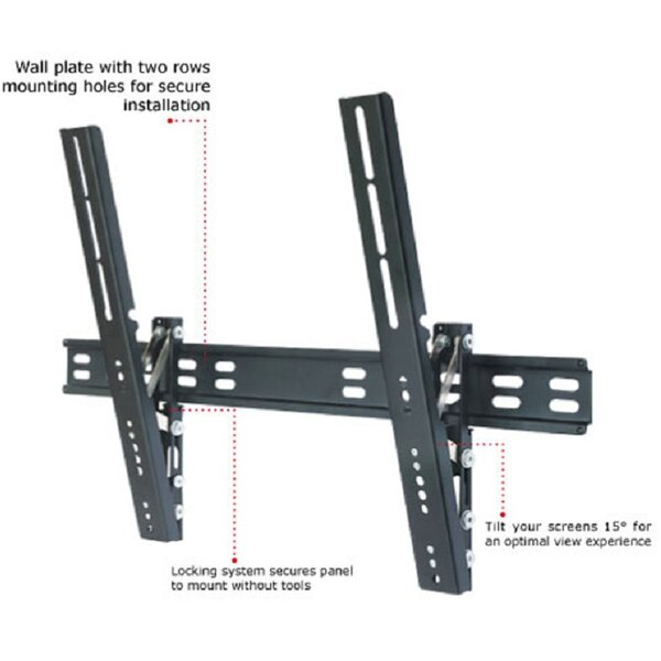 TygerClaw Ultra Slim Tilt Universal Wall Mount for 32-63 Flat Panel Screens by Homevision Technology