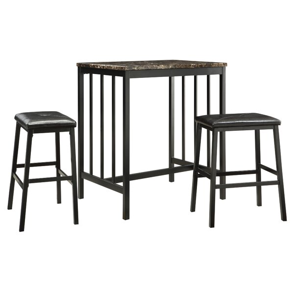 Anette 3 Piece Counter Height Dining Set by Charlton Home