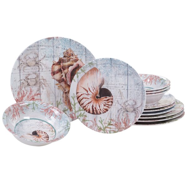 Higbee 12 Piece Melamine Dinnerware Set, Service for 4 by Highland Dunes
