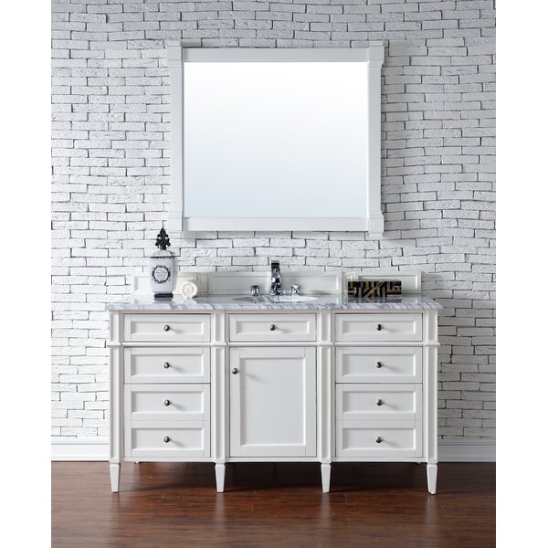 Deleon Traditional 60 Single Cottage White Stone Top Bathroom Vanity Set by Darby Home Co