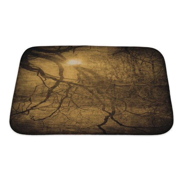 Wood Grunge Image of Dark Forest, Perfect Halloween Bath Rug by Gear New