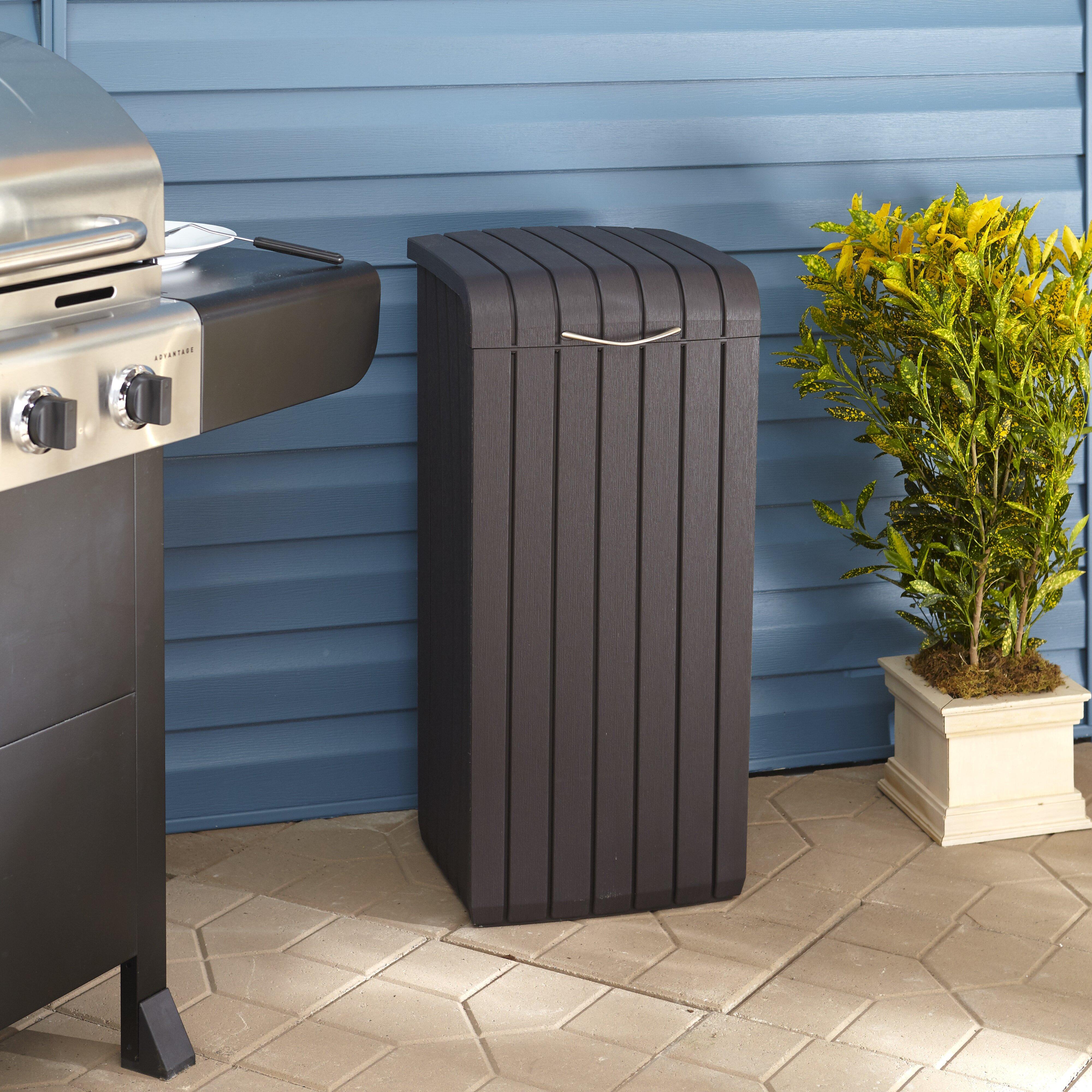 Keter Copenhagen Woodlook 30 Gallon Trash Can Reviews Wayfair