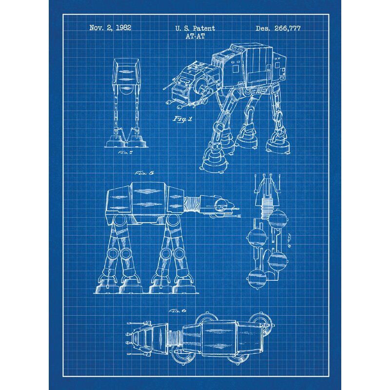 Favoriete Williston Forge 'Star Wars AT-AT' Blueprint Graphic Art in Blue @PH52