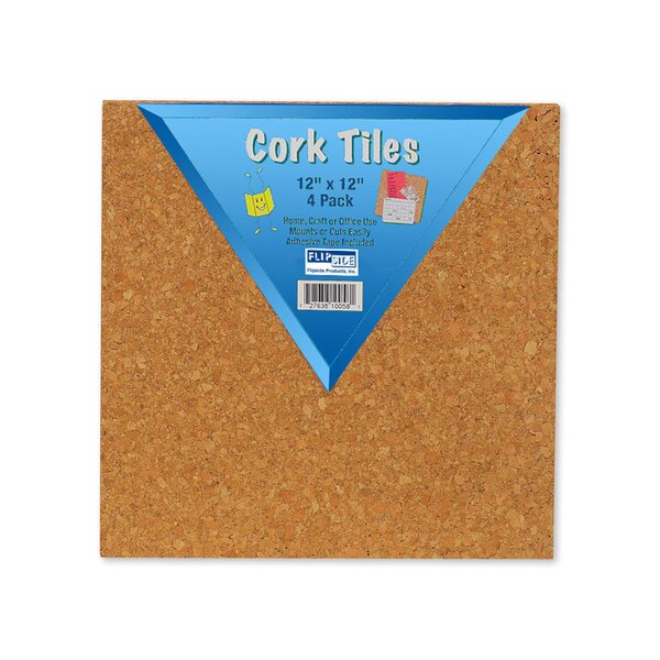 Cork Tiles Wall Mounted Bulletin Board, 12 x 12 (Set of 16) by Flipside Products
