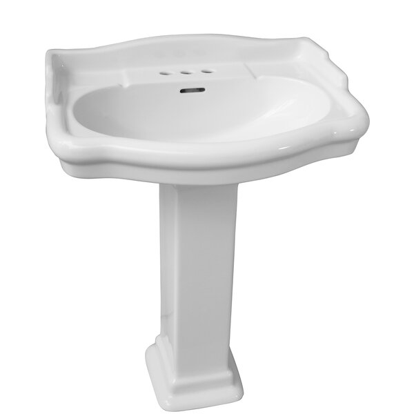 Stanford 550 Vitreous China 22 Pedestal Bathroom Sink with Overflow by Barclay