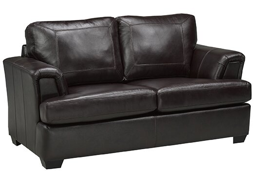 Royal Cranberry Italian Leather Loveseat by Coja