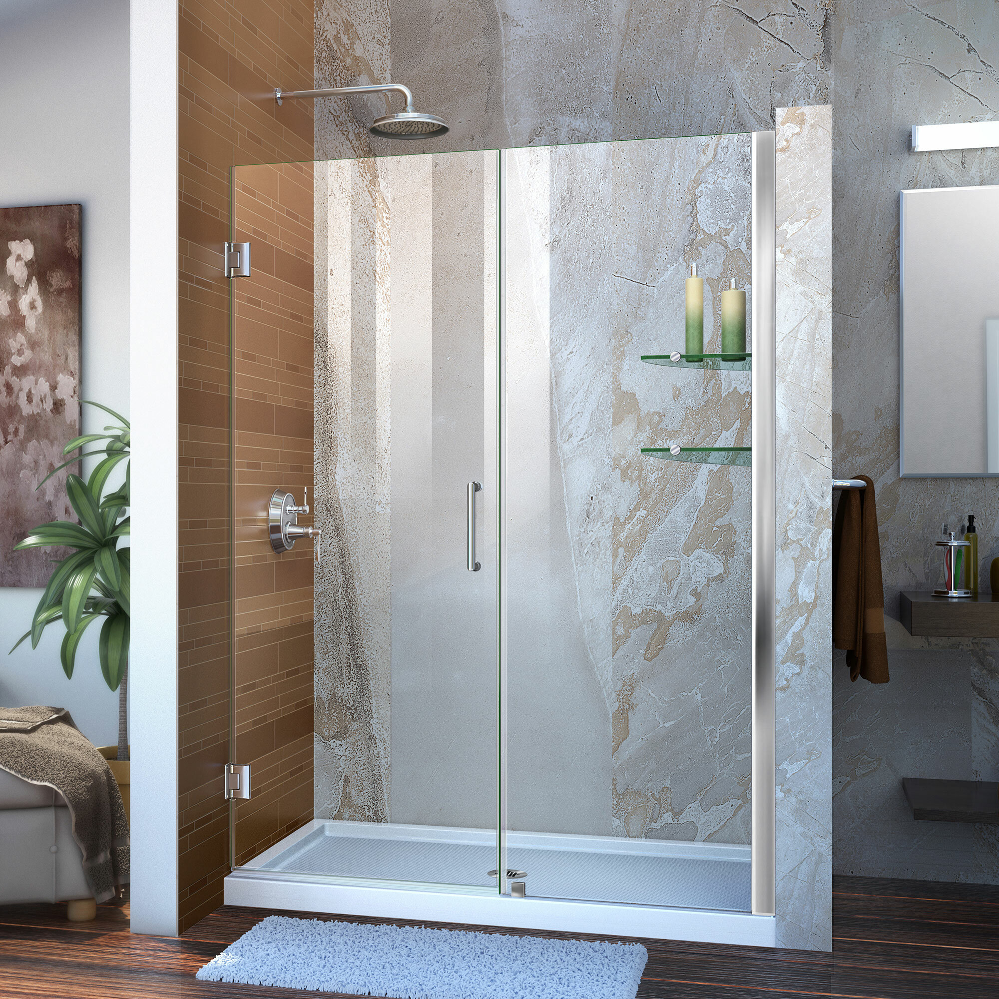 Unidoor 48 X 72 Hinged Frameless Shower Door With Clearmax Technology