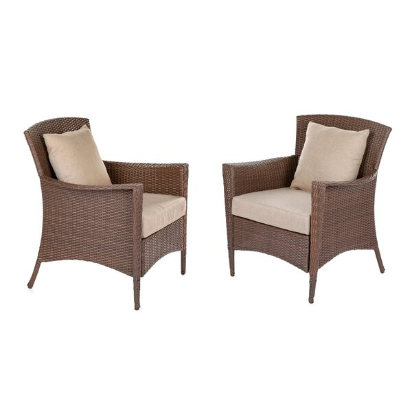 Simoneau Outdoor Garden 2 Piece Patio Dining Chair Set with Cushion by One Allium Way