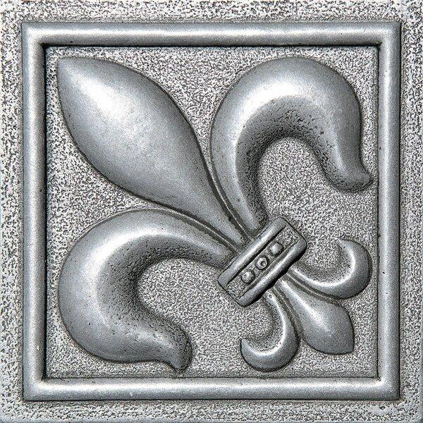 4 x 4 Fleur De Lis Deco Accent Tile in Pewter by Parvatile