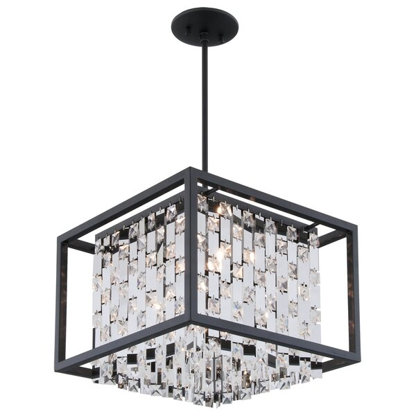 Whitfield 4 - Light Unique / Statement Rectangle / Square Chandelier by Rosdorf Park Rosdorf Park