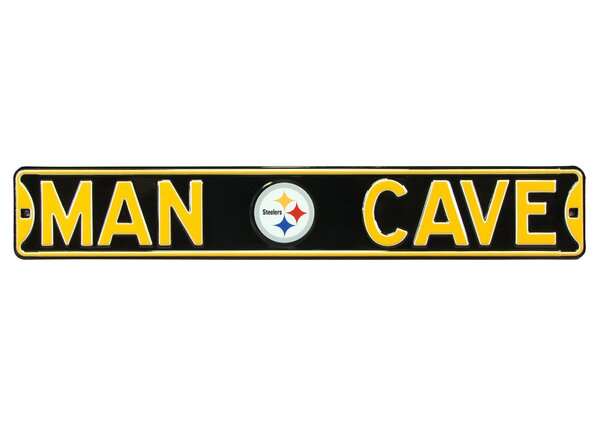 Pittsburgh Steelers Steel Man Cave Sign Wall Décor by Authentic Street Signs