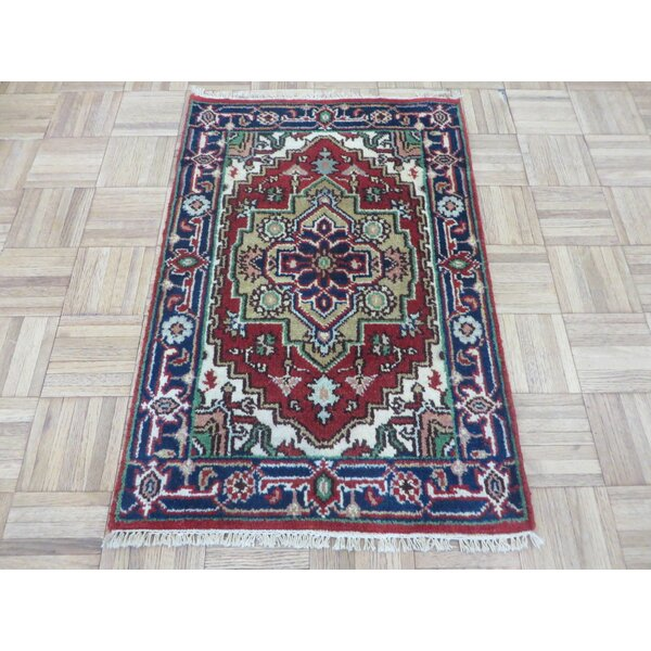 One-of-a-Kind Elford Serapi Hand-Knotted Wool Rust Red/Navy Area Rug by World Menagerie