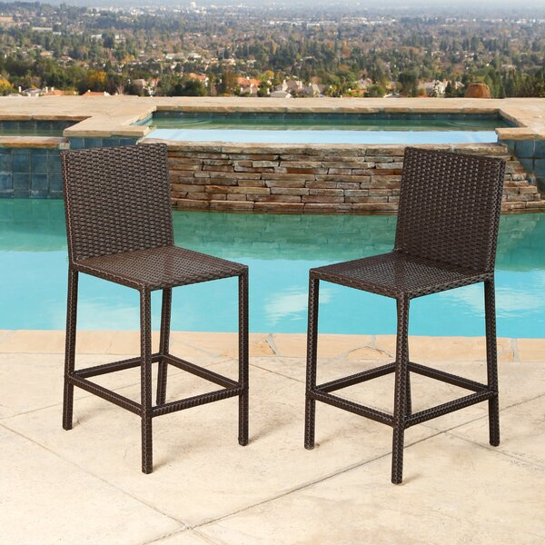 Beaty 28.5 Patio Bar Stool with Cushion (Set of 2) by Mercury Row