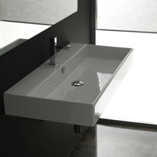 Ceramica II Unlimited Ceramic Ceramic Rectangular Vessel Bathroom Sink with Overflow by WS Bath Collections