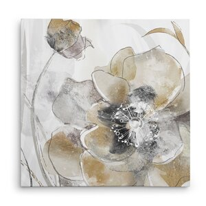 'Taupe Spring Poppy I' Oil Painting Print on Wrapped Canvas by Winston Porter