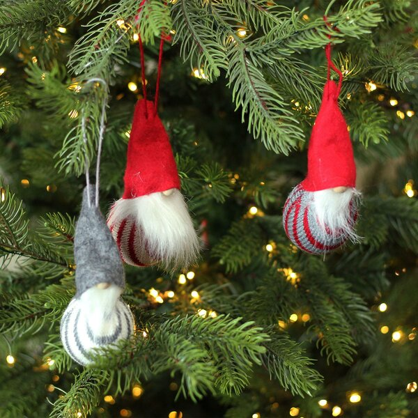 Decorative Santa Gnome Christmas Ornaments Hanging Figurine Set (Set of 3) by The Holiday Aisle