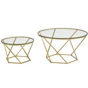 aman geometric glass 2 piece coffee table set