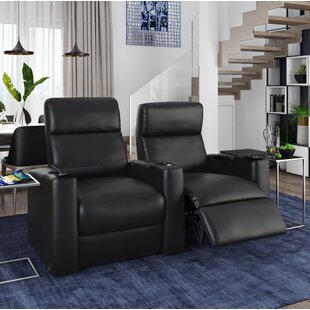Power Leather Home Theater Loveseat