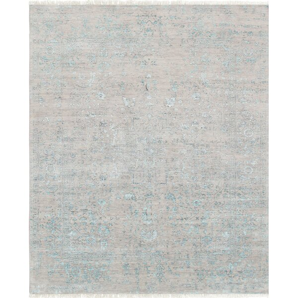 Pasargad Hand-Knotted Silk and Wool Beige Area Rug by Pasargad