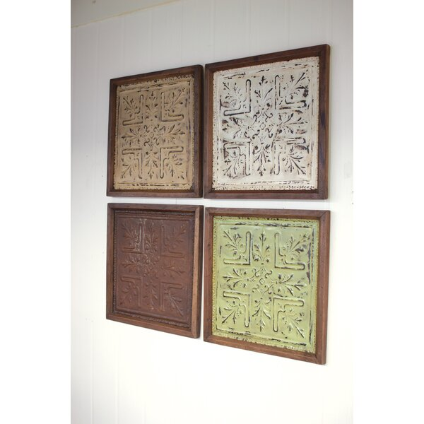 Tin Ceiling Panel 4 Piece Framed Graphic Art Print Set on Metal by Bungalow Rose