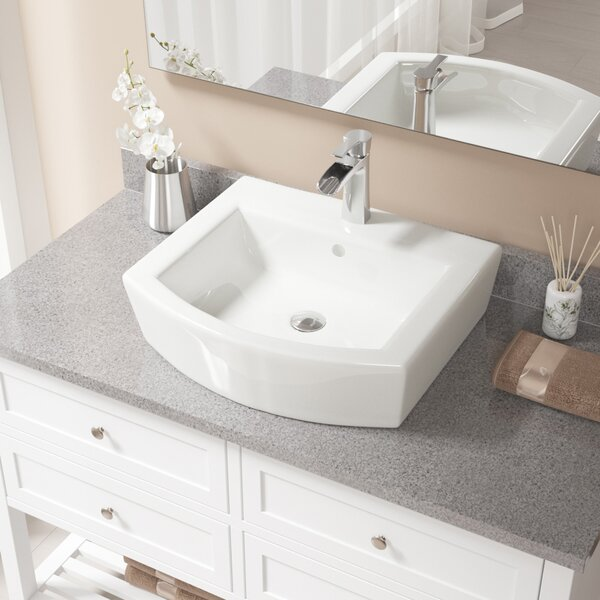 Specialty Vitreous China Specialty Vessel Bathroom Sink with Faucet and Overflow by MR Direct