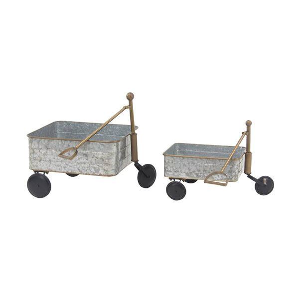 Contemporary Garden Pull 2-Piece Wheelbarrow Planter Set by Cole & Grey
