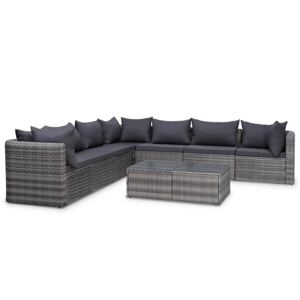 Eckington 8 Piece Rattan Sectional Seating Group with Cushions by Ebern Designs
