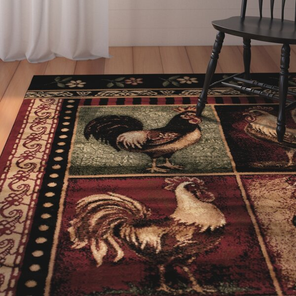 Colombier High Quality Woven Ultra-Soft Traditional Southwest Wilderness Rooster Theme Red Area Rug by August Grove
