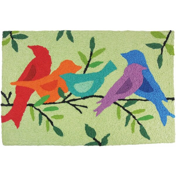 Beauford Morning Song Birds Hand-Tufted Green/Red/Blue Indoor/Outdoor Area Rug by Winston Porter
