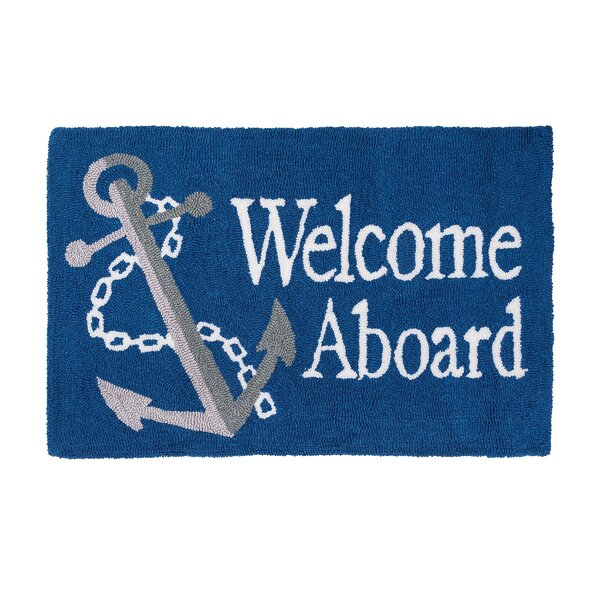 Crosland Welcome Aboard Machine Hooked Blue Indoor Area Rug by Breakwater Bay