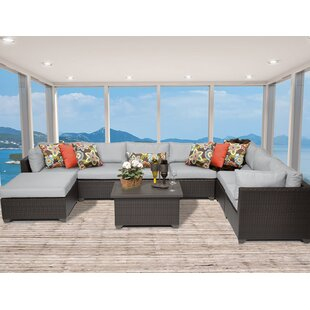 Belle 9 Piece Sectional Seating Group with Cushions By TK Classics