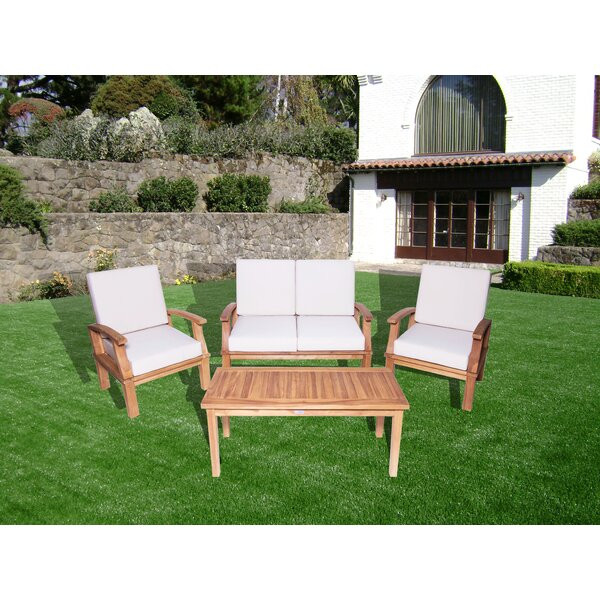 Josie 4 Piece Teak Sofa Seating Group with Cushions by Loon Peak