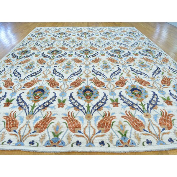 One-of-a-Kind Beaumont Arts Crafts Handwoven Ivory Wool Area Rug by Isabelline