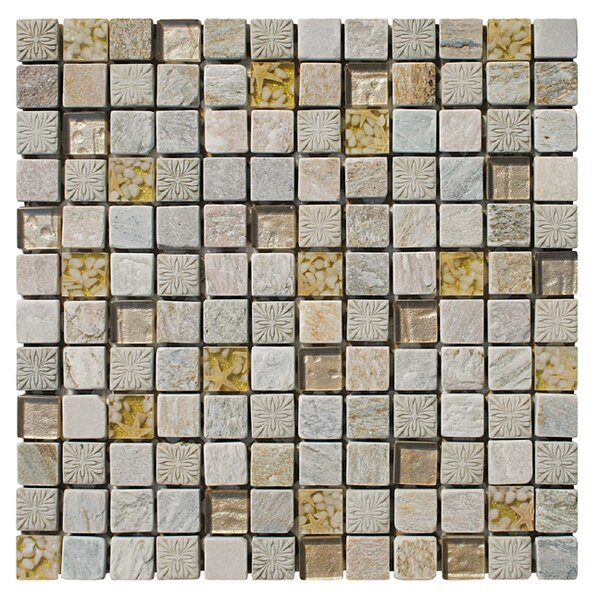 Natural Splendor 1 x 1 Natural Stone/Glass/Seashell Mosaic Tile in 3 Color Blend by Intrend Tile