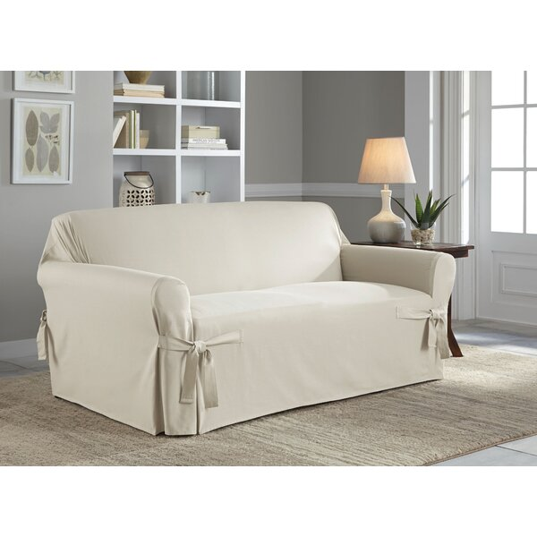 Cotton Duck Box Cushion Loveseat Slipcover by Sert