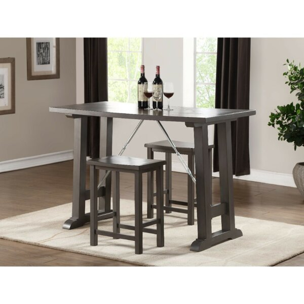 Doutzen Transitional Wooden Counter Height 3 Piece Pub Table Set (Set of 3) by Red Barrel Studio