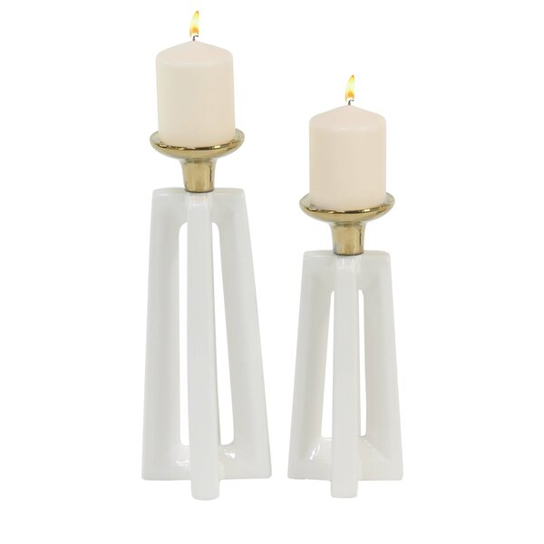 Modern Cross 2 Piece Candlestick Set by Corrigan Studio