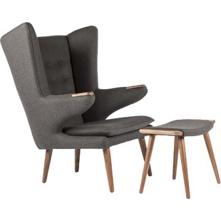 Olsen Wingback Chair and Ottoman By Stilnovo