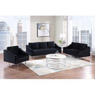 Arsenovic 3 Piece Velvet Living Room Set by Everly Quinn