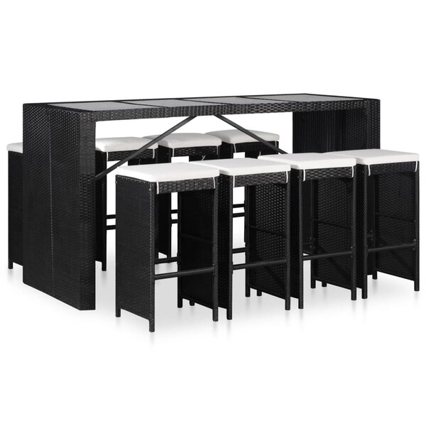 Moshup 9 Piece Dining Set with Cushions by Ebern Designs