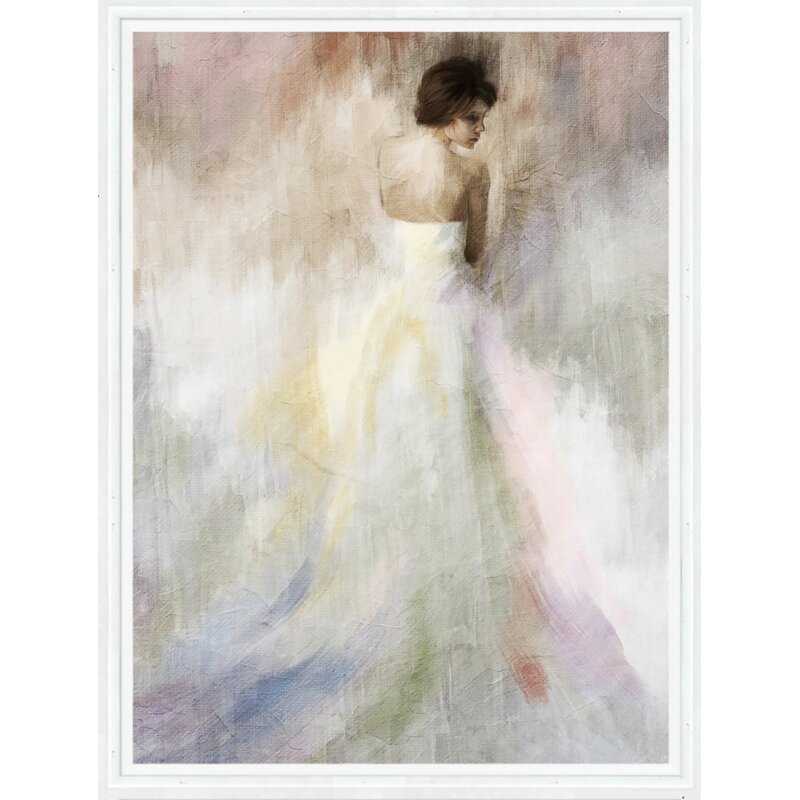 Woman in White Framed Painting Print on Canvas & Reviews | Joss & Main
