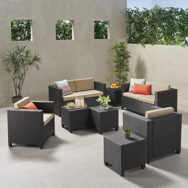 Kraemer Outdoor 8 Piece Rattan Sofa Seating Group with Cushions by Ivy Bronx