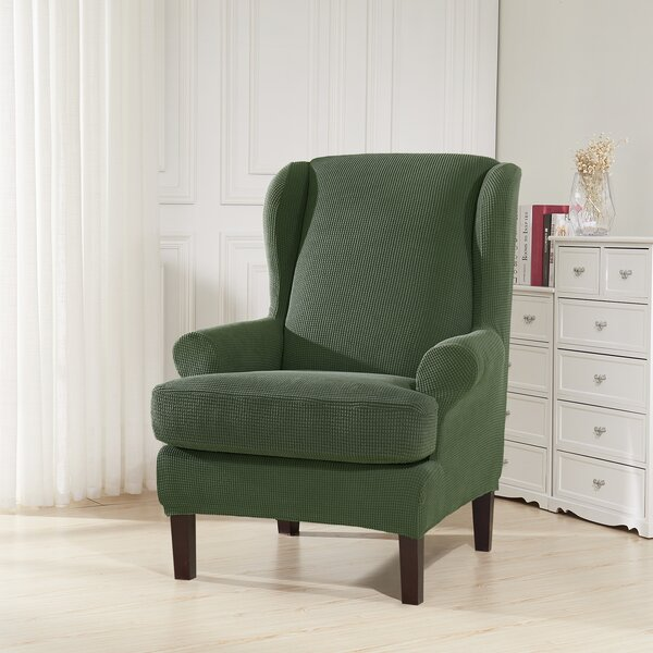 Compare Price Soft Spandex Stretch T-Cushion Wingback Chair Slipcover