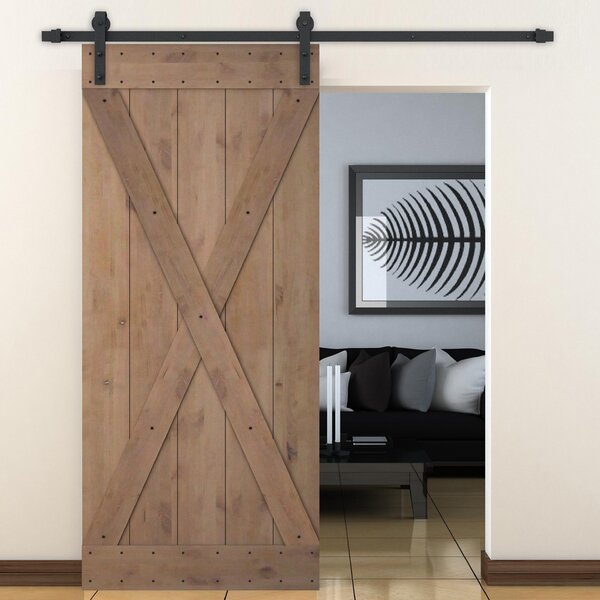 Bent Strap Sliding Door Track Hardware and X Overlay Primed Sliding Knotty Solid Wood Panelled Alder Slab Interior Barn Door by Calhome