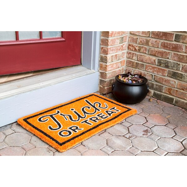 Trick or Treat Hand-Woven Coir Doormat by Entryway