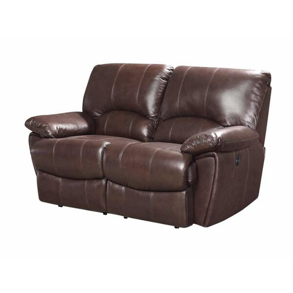 #1 Alicea Leather Reclining Loveseat By Canora Grey Savings