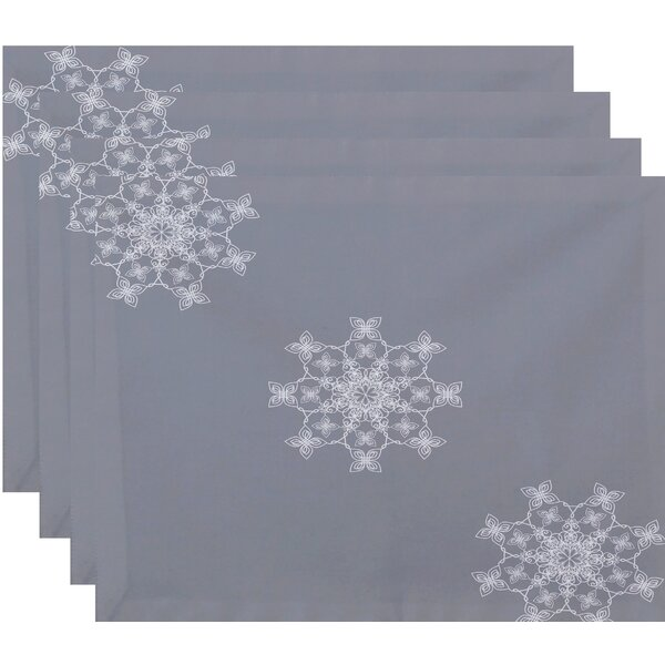 Falling Snow Geometric Print Placemat (Set of 4) by House of Hampton