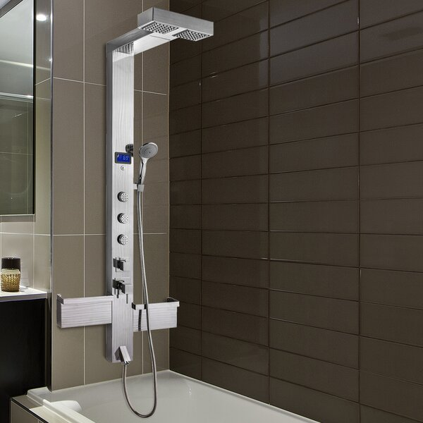 3-Jet Shower Panel System With Rainfall Waterfall Shower Head, Led Display And Shampoo Holder By Akdy.
