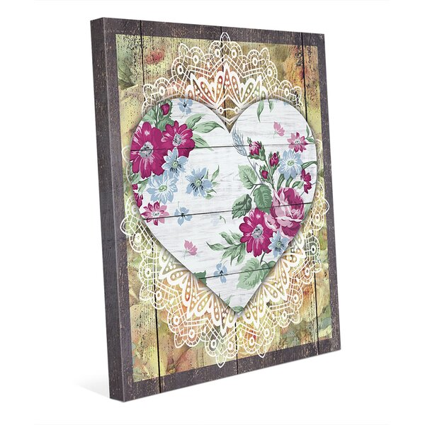 Floral Heart Graphic Art on Wrapped Canvas by Click Wall Art